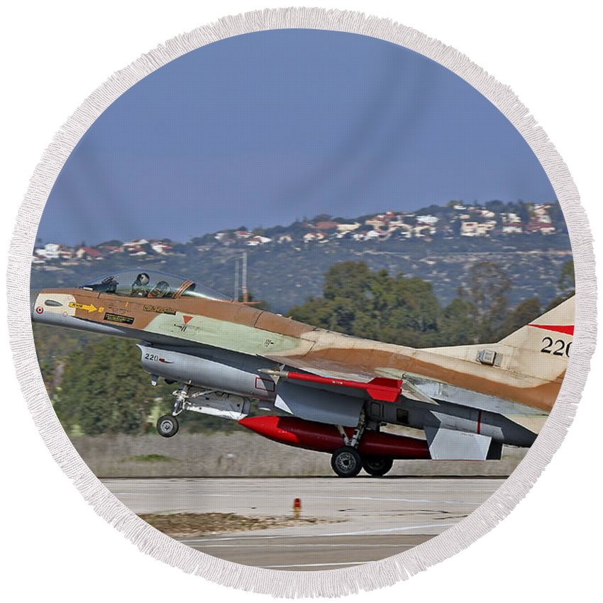 Transportation Round Beach Towel featuring the photograph An F-16a Netz Of The Israeli Air Force by Ofer Zidon