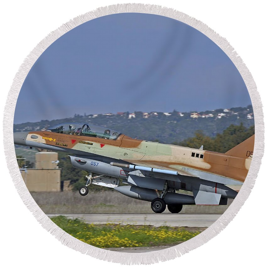 Transportation Round Beach Towel featuring the photograph An F-16d Barak Of The Israeli Air Force by Ofer Zidon