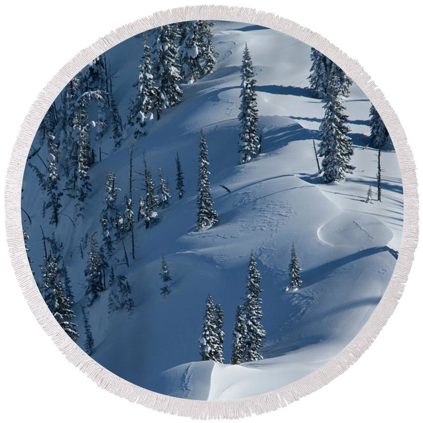 Backcountry Round Beach Towel featuring the photograph Backcountry Ski Traverse In Glacier by Heath Korvola