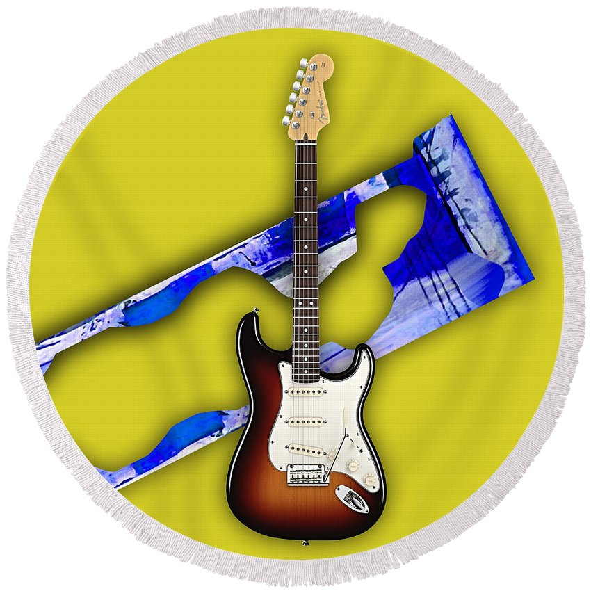 Fender Stratocaster Round Beach Towel featuring the mixed media Fender Stratocaster Collection by Marvin Blaine