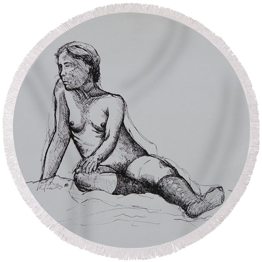 Figure Round Beach Towel featuring the drawing Figure Study by Rachel Christine Nowicki