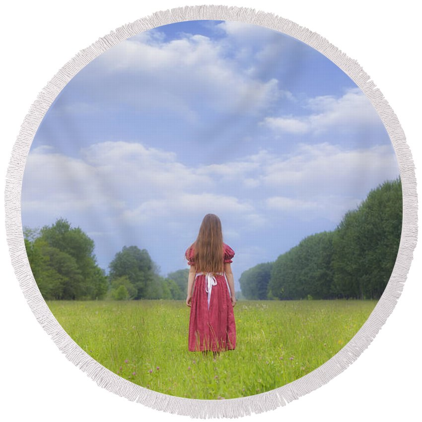 Woman Round Beach Towel featuring the photograph Girl On Meadow by Joana Kruse