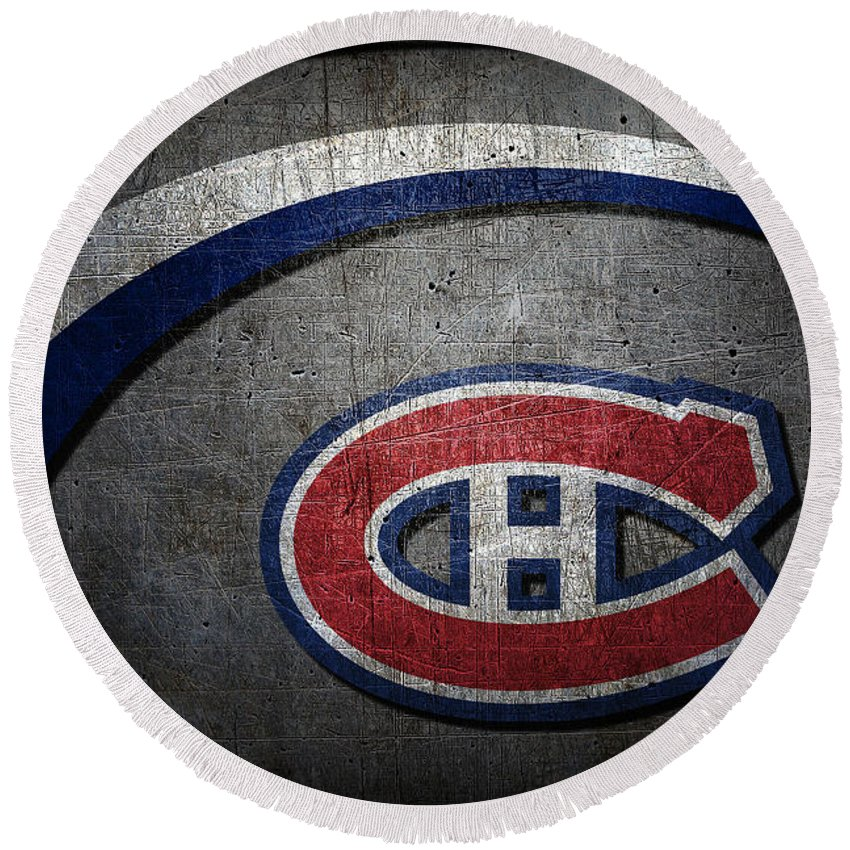 Canadiens Round Beach Towel featuring the photograph Montreal Canadiens by Joe Hamilton