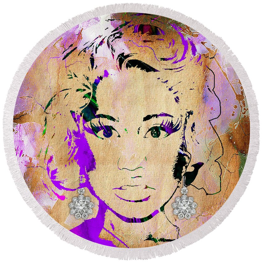 Lil Wayne Round Beach Towel featuring the mixed media Nicki Minaj Diamond Earring Collection by Marvin Blaine