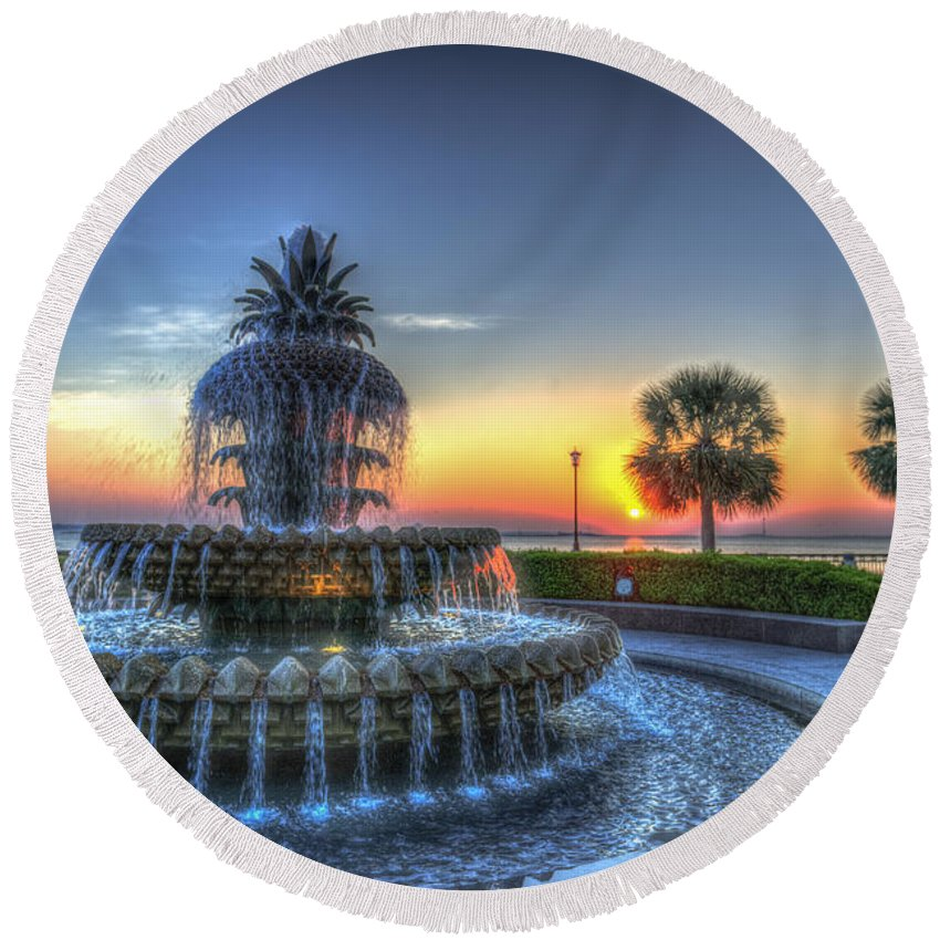 Pineapple Fountain Round Beach Towel featuring the photograph Pineapple Glowing by Dale Powell