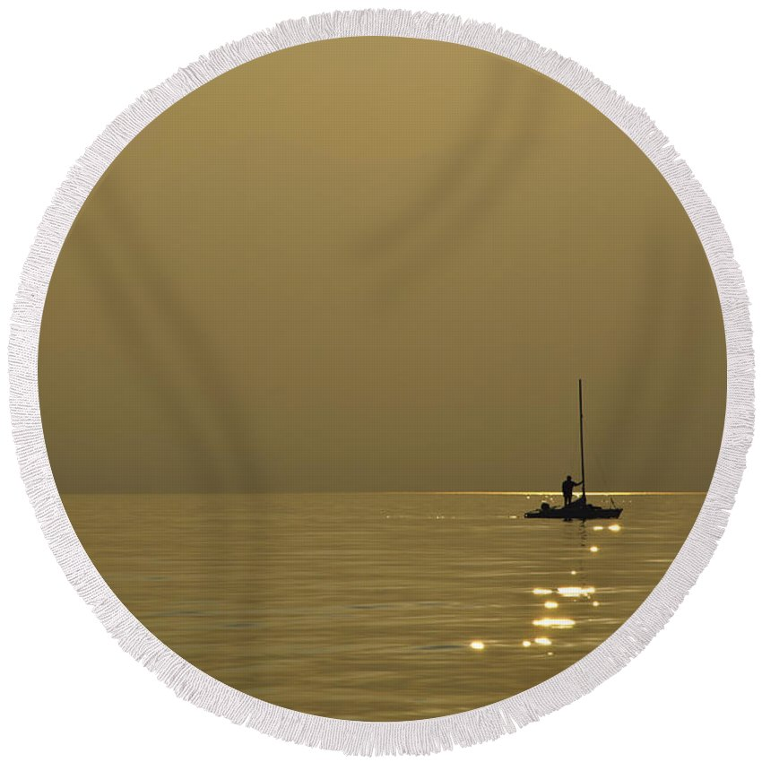Boat Round Beach Towel featuring the photograph Sailing Boat by Mats Silvan