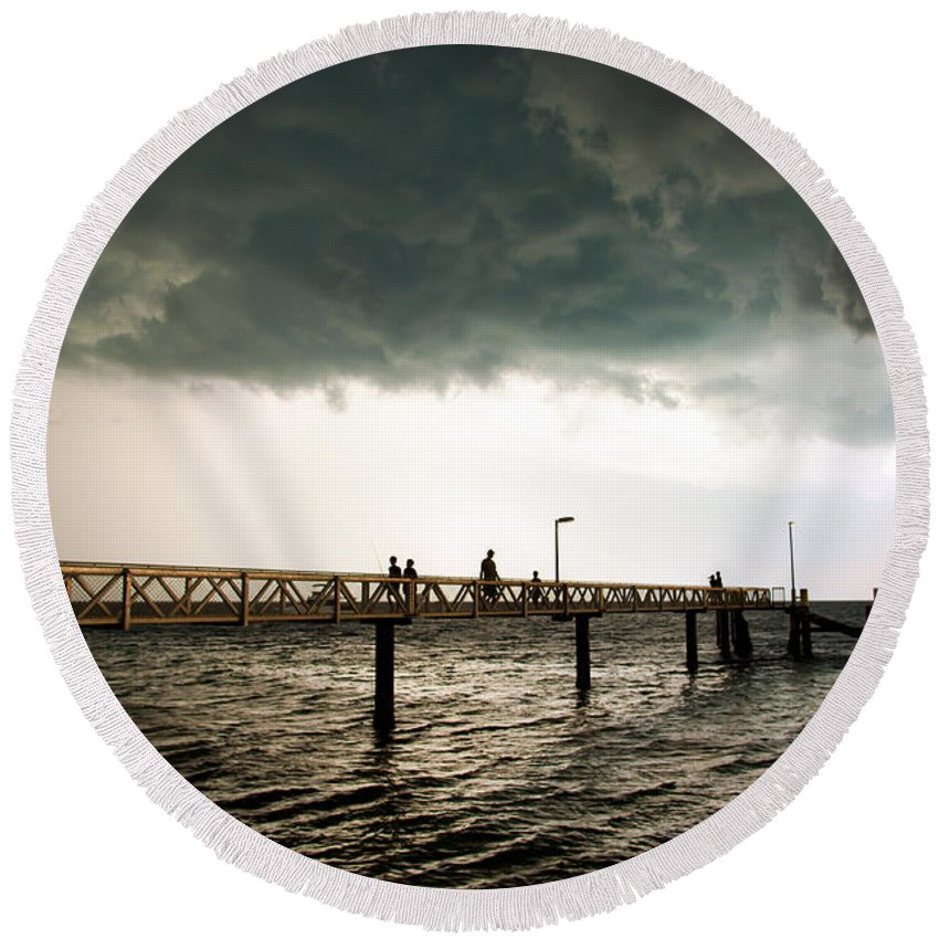 Beach Round Beach Towel featuring the photograph Storm Clouds by Tim Hester