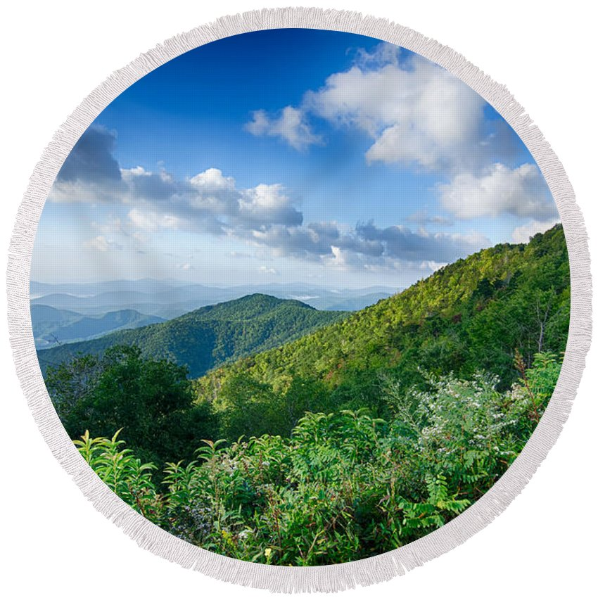 Mountains Round Beach Towel featuring the photograph Sunrise Over Blue Ridge Mountains Scenic Overlook by Alex Grichenko