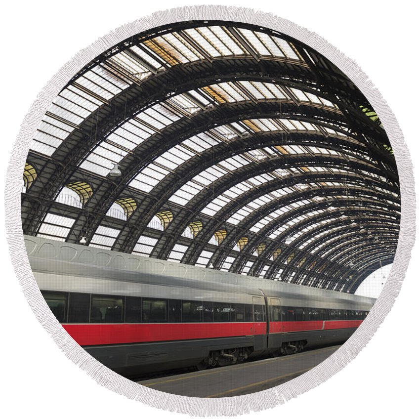 Train Station Round Beach Towel featuring the photograph Train Station by Mats Silvan