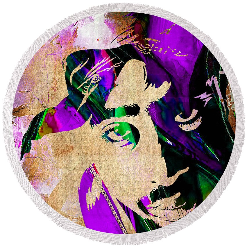 Rap Round Beach Towel featuring the mixed media Tupac Collection by Marvin Blaine