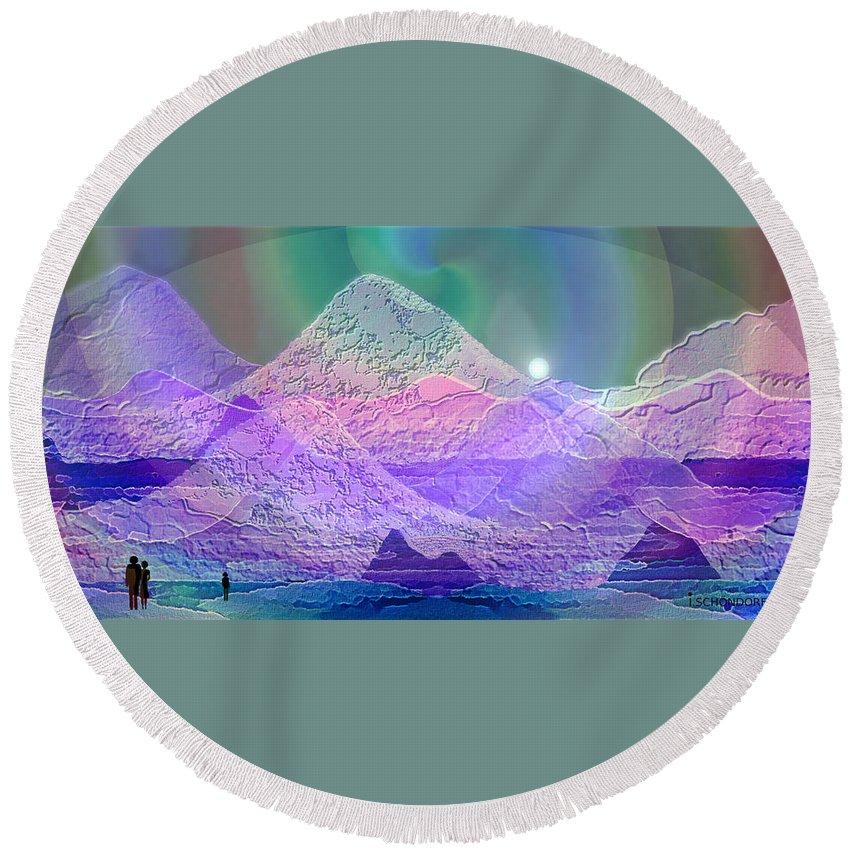939 Round Beach Towel featuring the painting 939 - Magic Mood Mountain World by Irmgard Schoendorf Welch