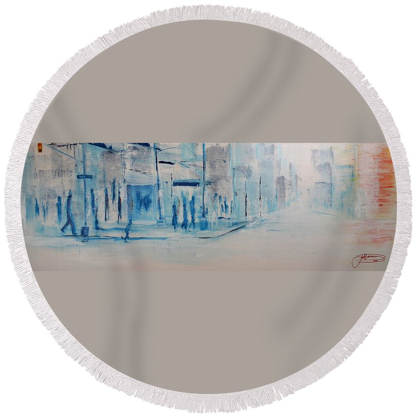 Jack Round Beach Towel featuring the painting 95 In The Shade by Jack Diamond