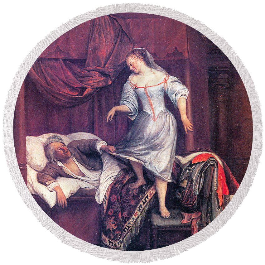 Jan Steen Round Beach Towel featuring the painting The Seduction by Jan Steen