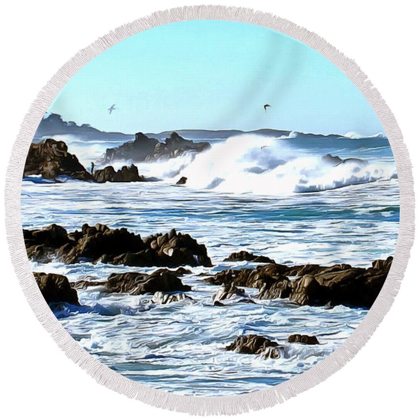 Abarbara Snyder Round Beach Towel featuring the painting Seascape And Sea Gulls by Barbara Snyder