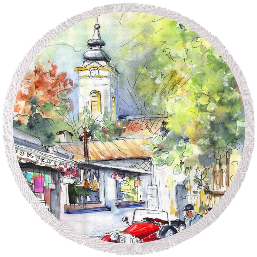 Travel Round Beach Towel featuring the painting A Beautiful Car In Szentendre by Miki De Goodaboom