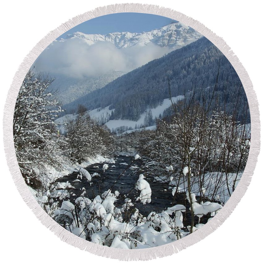Winterday Round Beach Towel featuring the photograph A Beautiful Winterday - Austrian Alps by Christiane Schulze Art And Photography