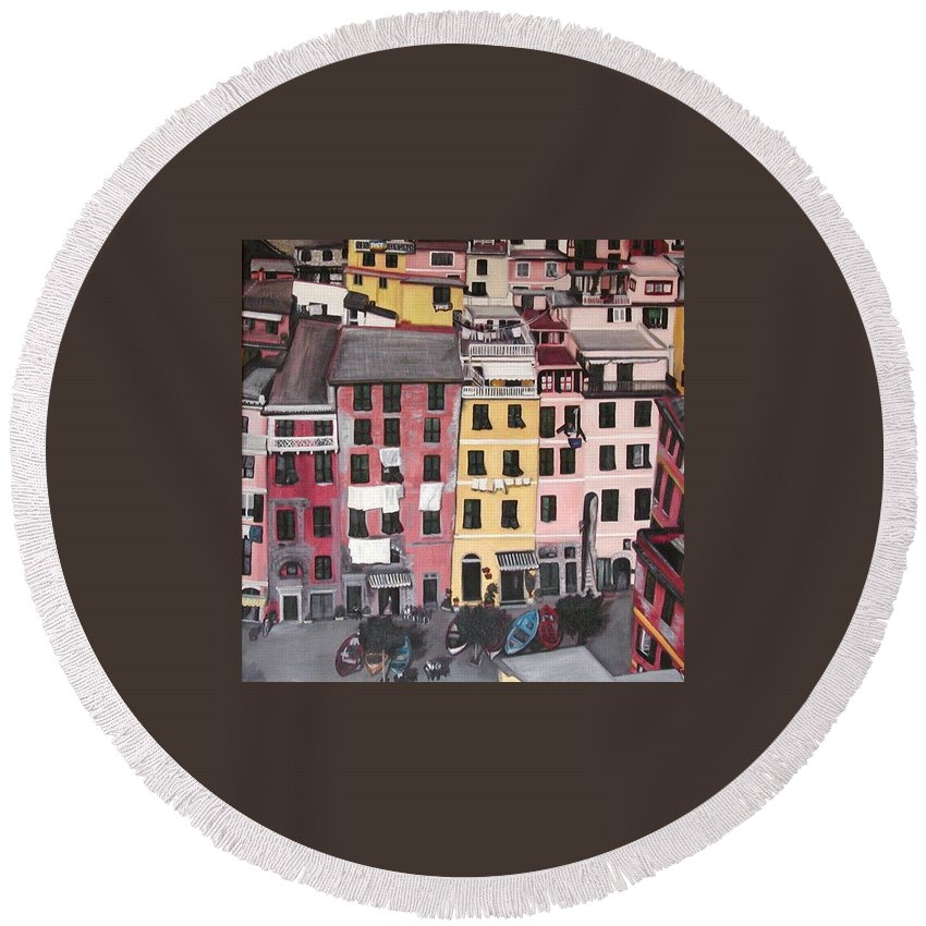 Vernazza Round Beach Towel featuring the painting A Bird's Eye View Of Cinque Terre by Quin Sweetman