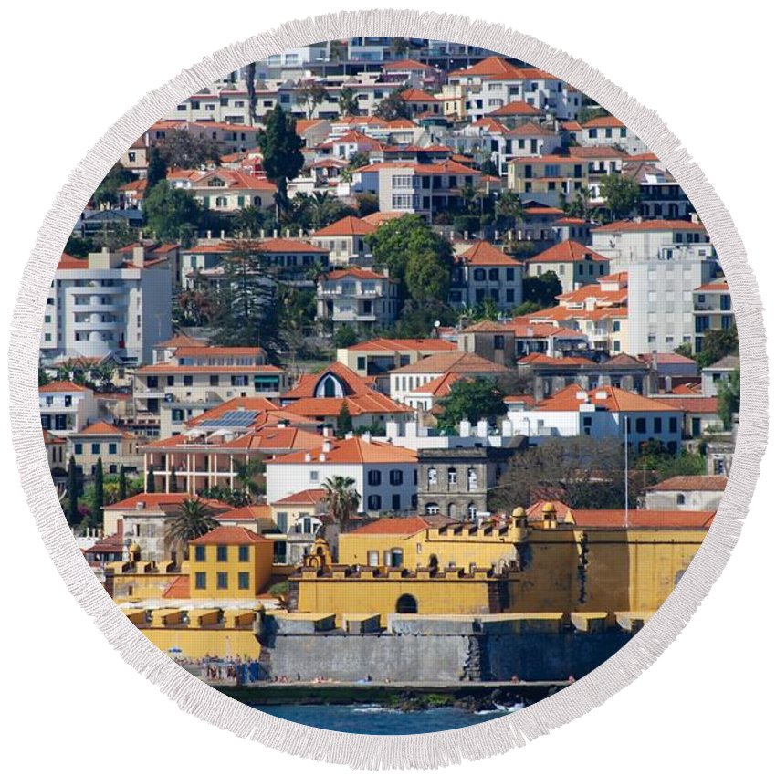 Funchal Round Beach Towel featuring the photograph A Bit Of Funchal by Eric Tressler