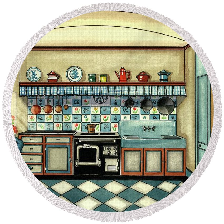 Kitchen Round Beach Towel featuring the digital art A Blue Kitchen With A Tiled Floor by Laurence Guetthoff