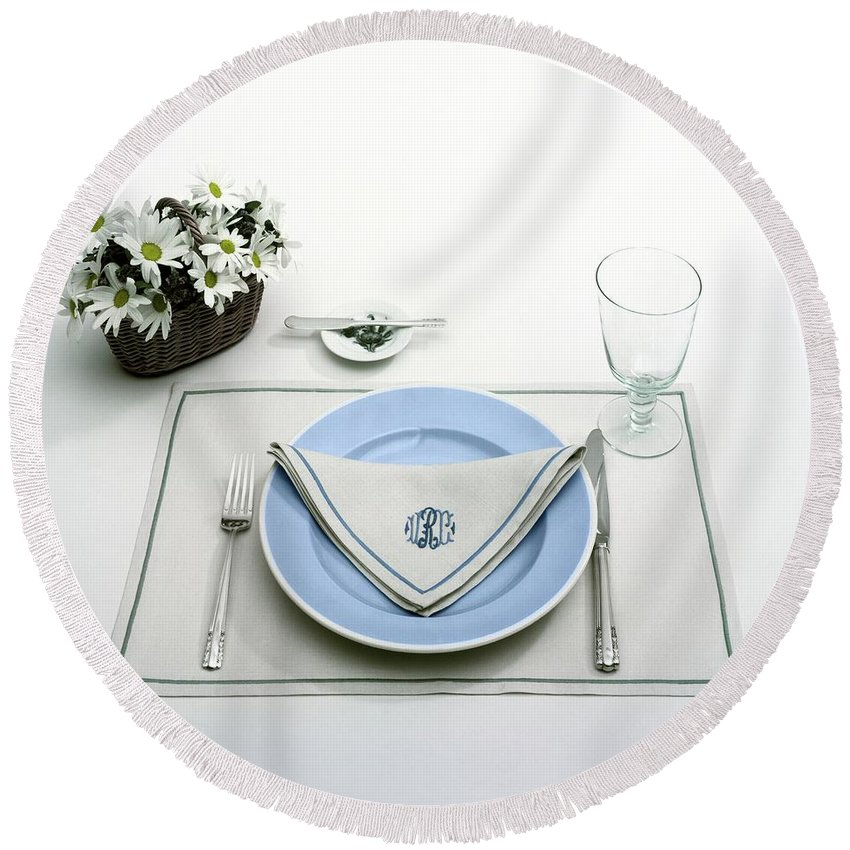 Utensils Round Beach Towel featuring the photograph A Blue Table Setting by Haanel Cassidy