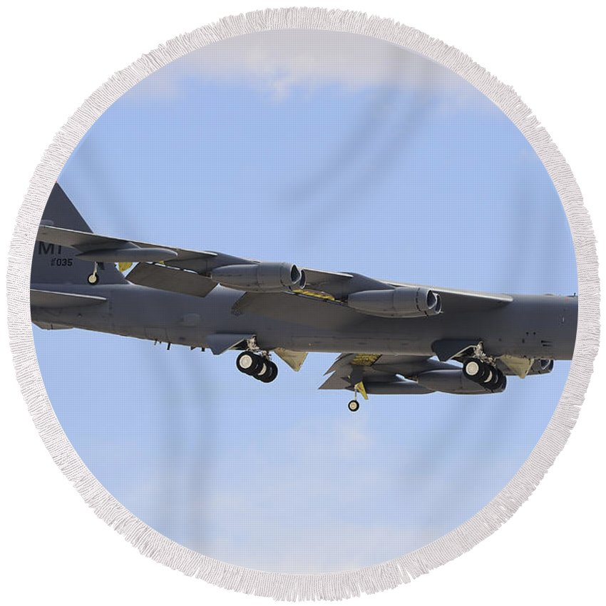 Horizontal Round Beach Towel featuring the photograph A Boeing B-52h Stratofortress Prepares by Remo Guidi