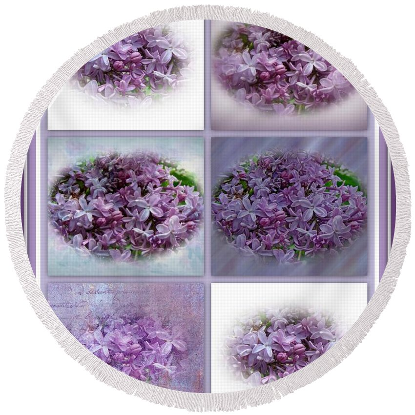 Lilac Round Beach Towel featuring the photograph A Bouquet Of Lilacs by Mother Nature
