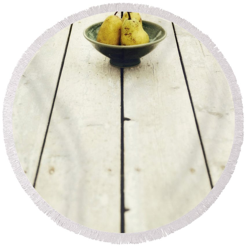 Pear Round Beach Towel featuring the photograph A Bowl Filled With Pears by Priska Wettstein