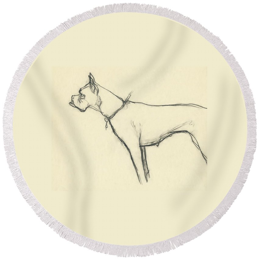 Animal Round Beach Towel featuring the digital art A Boxer Dog by Carl Oscar August Erickson