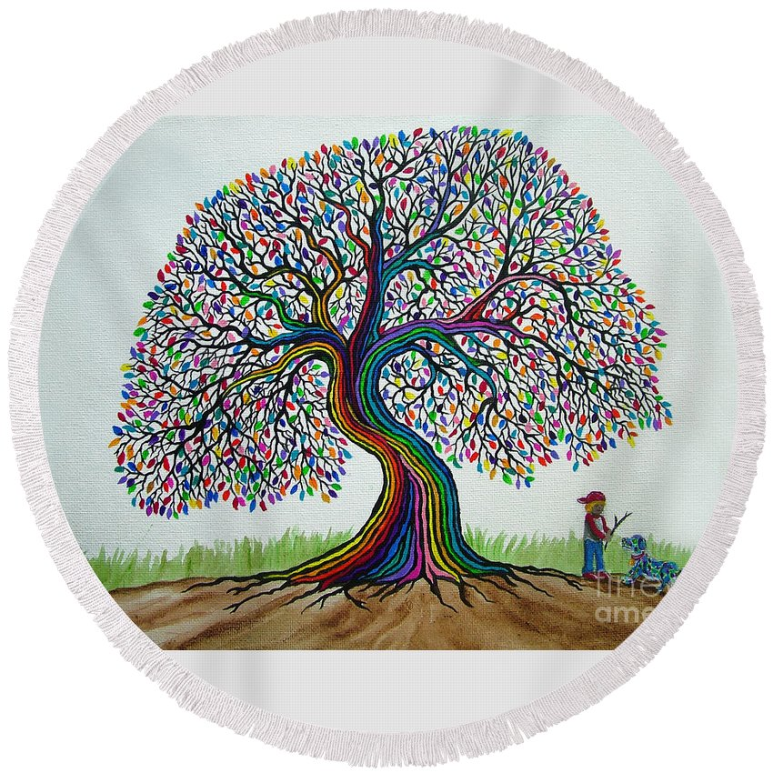 Rainbow Tree Round Beach Towel featuring the painting A Boy His Dog And Rainbow Tree Dreams by Nick Gustafson
