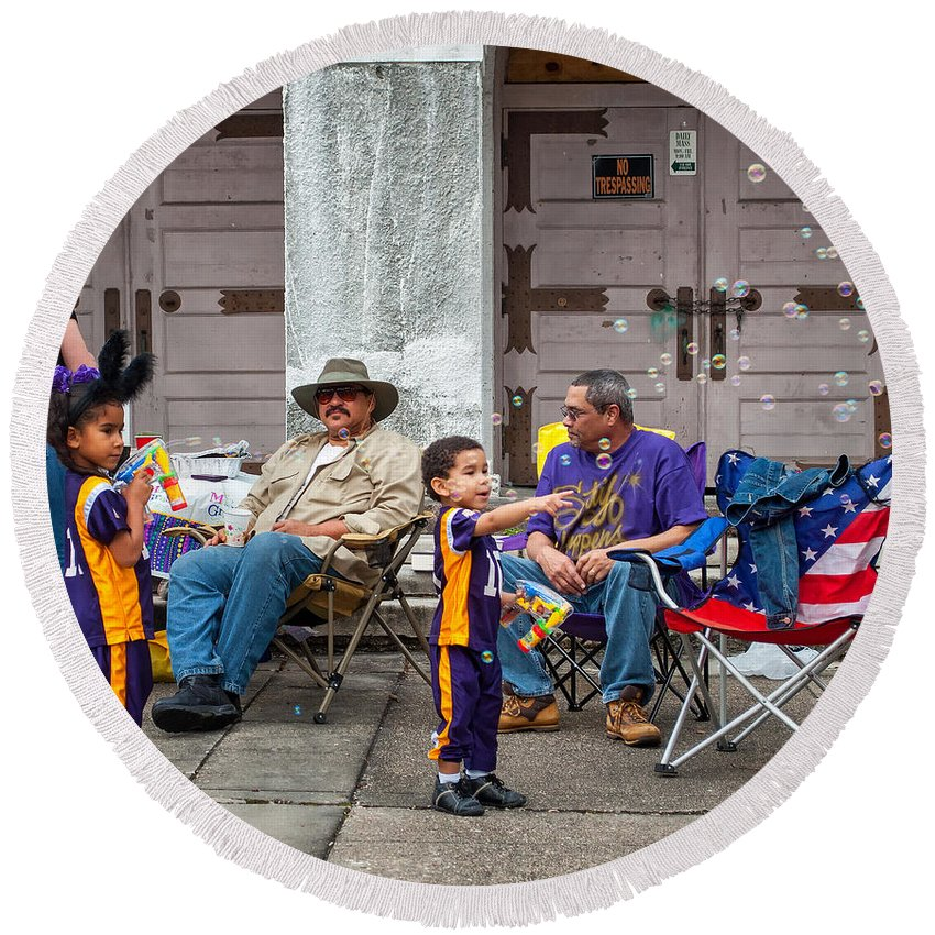 New Orleans Round Beach Towel featuring the photograph A Bubbly World by Steve Harrington