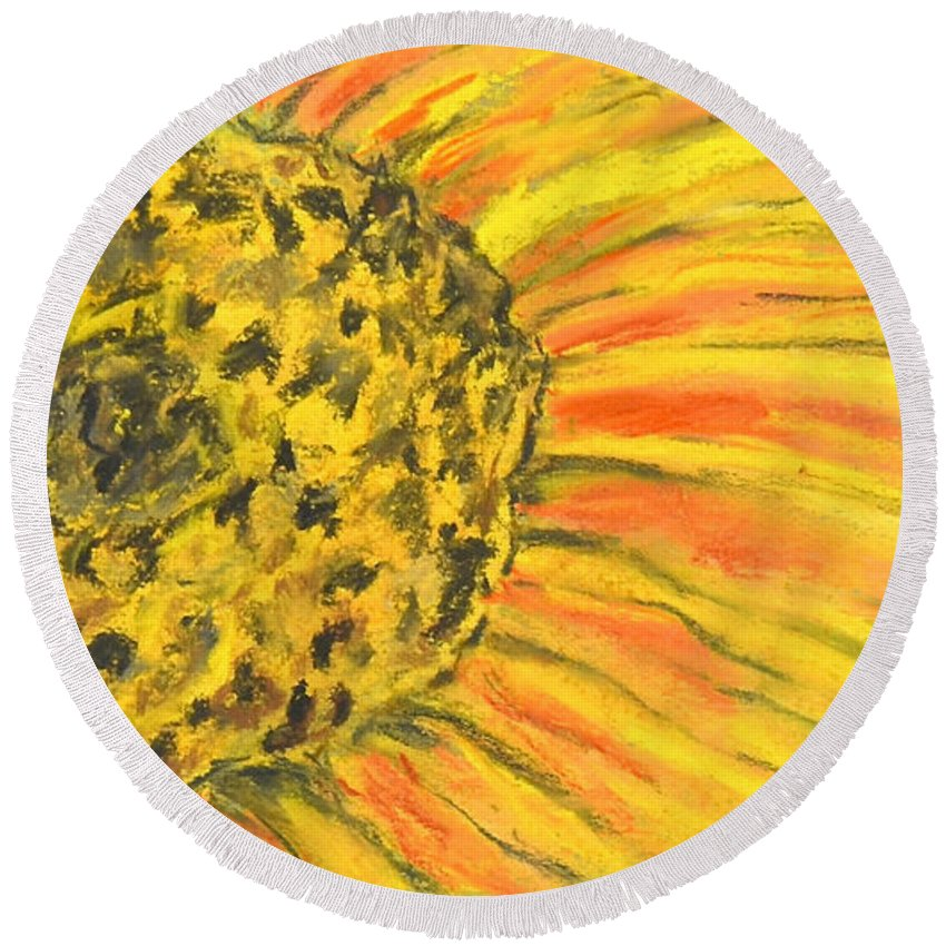 Flower Round Beach Towel featuring the drawing A Burst Of Yellow by Cori Solomon