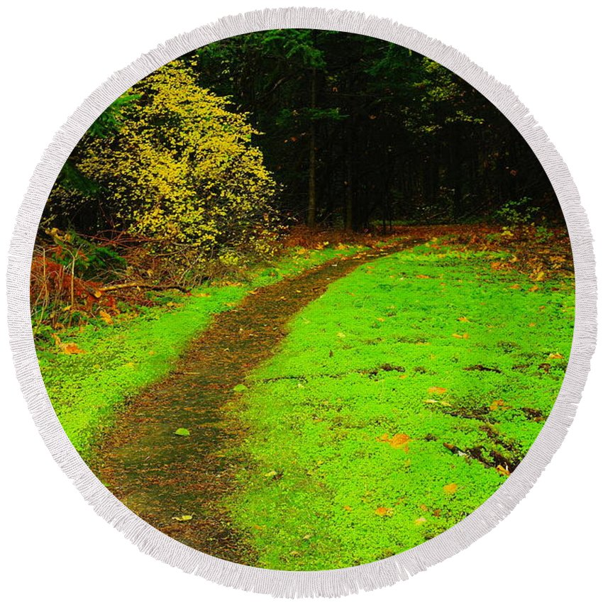 Paths Round Beach Towel featuring the photograph A Carpted Path by Jeff Swan
