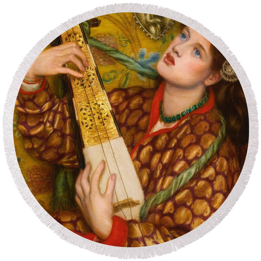 Dante Gabriel Rossetti Round Beach Towel featuring the painting A Christmas Carol by Dante Gabriel Rossetti