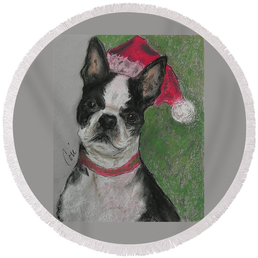 Boston Terrier Round Beach Towel featuring the drawing A Christmas Terrier by Cori Solomon