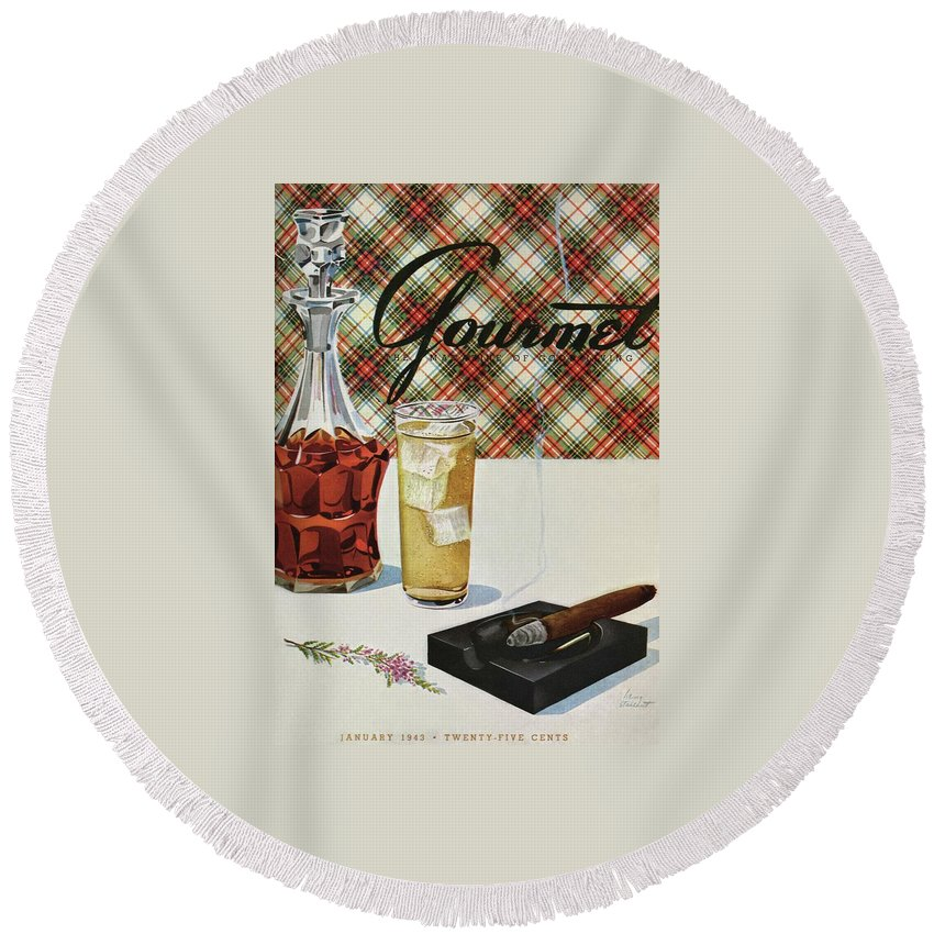 Illustration Round Beach Towel featuring the photograph A Cigar In An Ashtray Beside A Drink And Decanter by Henry Stahlhut