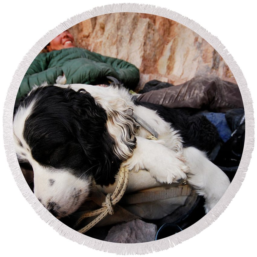 Adult Round Beach Towel featuring the photograph A Climber And Her Dog Lay by Rich Wheater