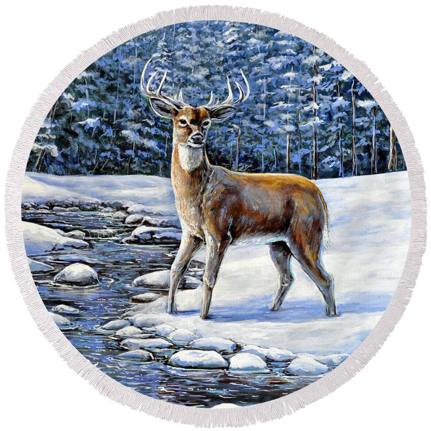 Nature Animal Deer Landscape Forest Winter Snow Pine Stream Blue Green Round Beach Towel featuring the painting A Cold Drink by Gail Butler