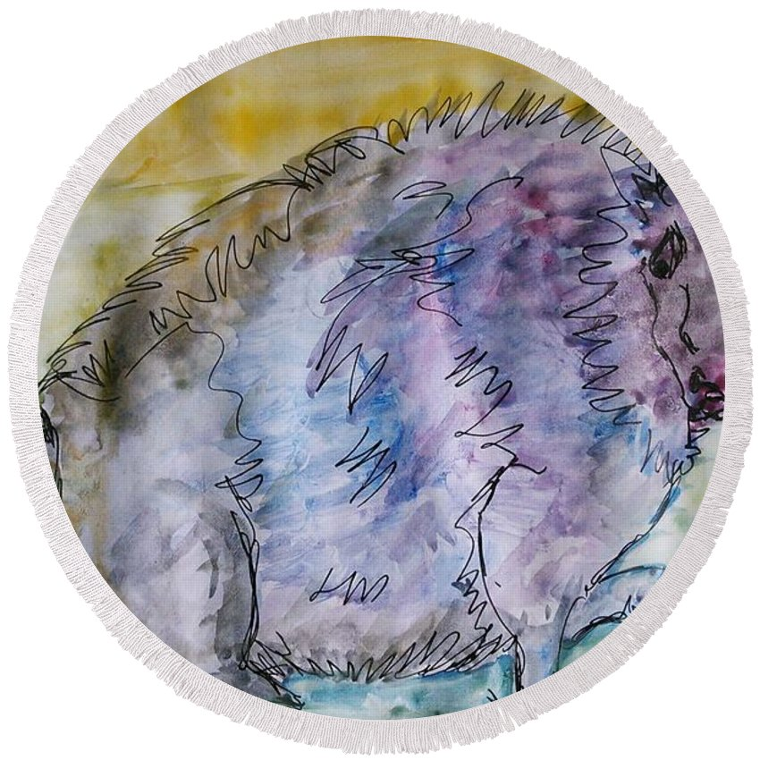 Round Beach Towel featuring the painting A Combination Of Different Species by Vineeth Menon