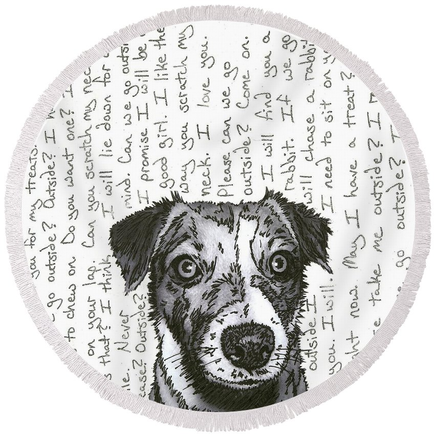 Dog Round Beach Towel featuring the mixed media A Conversation With A Jack Russell Terrier by Salvadore Delvisco