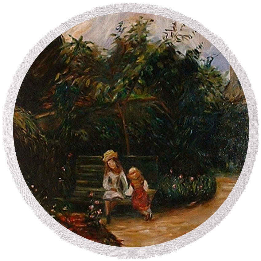 Classic Art Round Beach Towel featuring the painting A Corner Of The Garden At The Hermitage by Silvana Abel