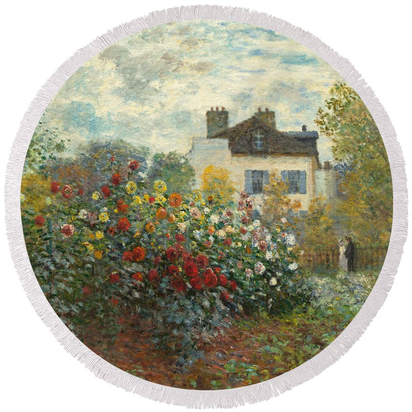 French Round Beach Towel featuring the painting A Corner Of The Garden With Dahlias by Claude Monet