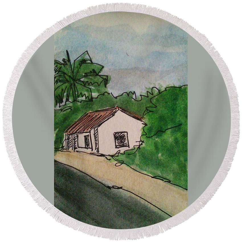 Cottage Tree's Road Footpath Round Beach Towel featuring the painting A Cottage Next To The Pathway by Vineeth Menon