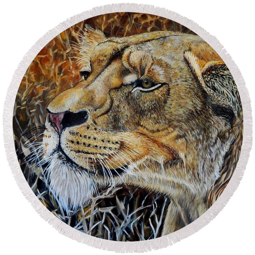 Lion Round Beach Towel featuring the painting A Curious Lioness by Caroline Street