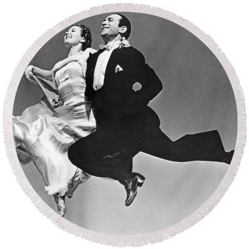 1035-798 Round Beach Towel featuring the photograph A Dance Team Does The Rhumba by Underwood Archives