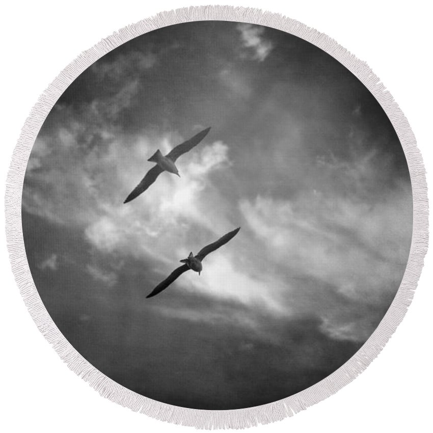 Clouds Round Beach Towel featuring the photograph A Deux by Zapista