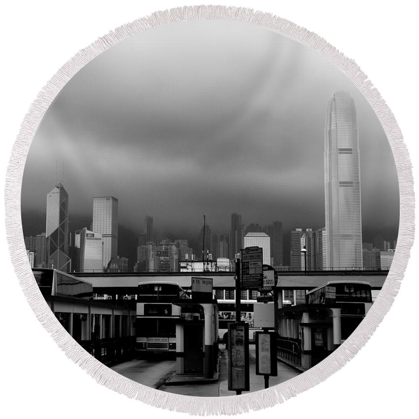Hong Kong Round Beach Towel featuring the photograph A Different Perspective by Venetta Archer