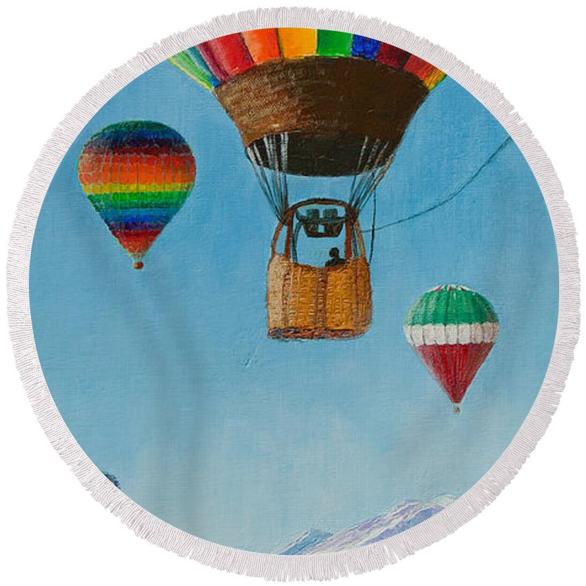 Hot Air Balloon Round Beach Towel featuring the painting A Dream Come True by Margaret Bobb