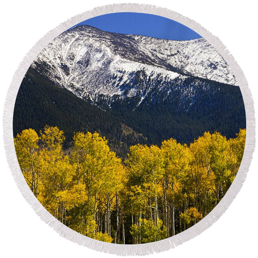 Fall Colors Round Beach Towel featuring the photograph A Dusting Of Snow On The Peaks by Saija Lehtonen