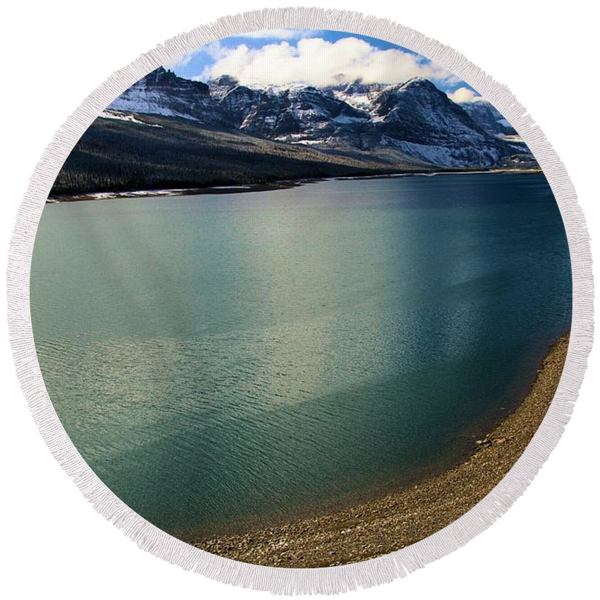 Lake Sherburne Round Beach Towel featuring the photograph A Dusting On Glacier by Adam Jewell