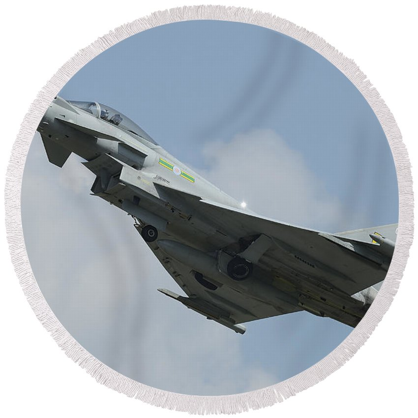 Horizontal Round Beach Towel featuring the photograph A Eurofighter Typhoon Of The Royal Air by Remo Guidi